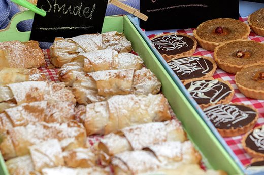 Continental pastries on display