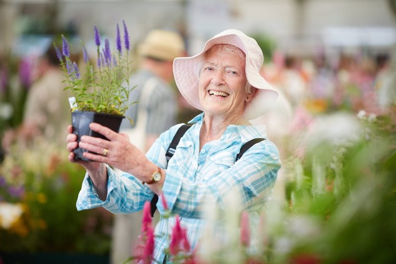 A visitor shopping at RHS Flower Show Tatton Park