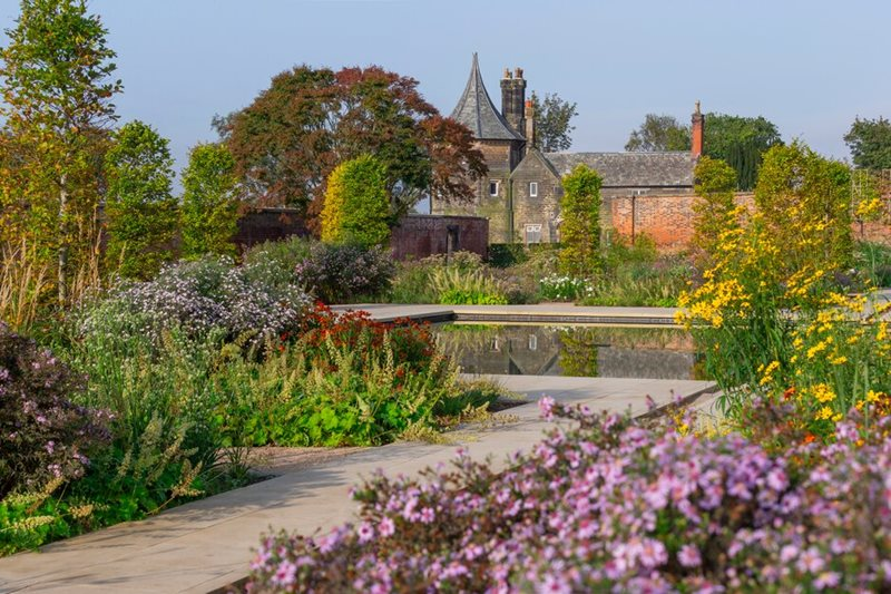 The stunning Paradise Garden, designed by Tom Stuart-Smith, in the Weston Walled Garden