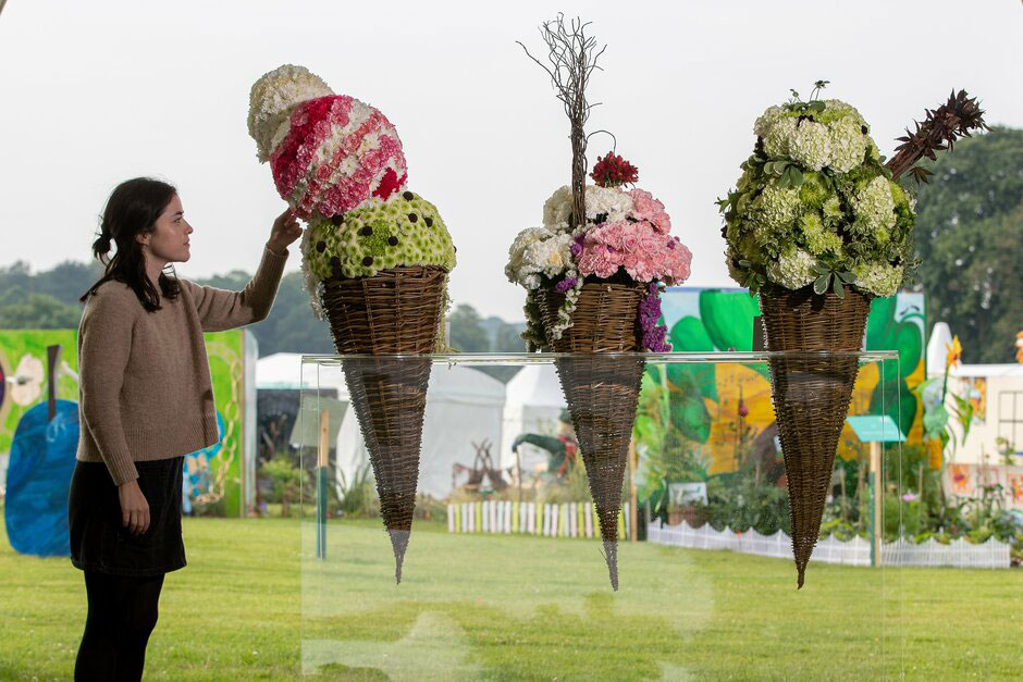 Ice cream cone display in the Flower School