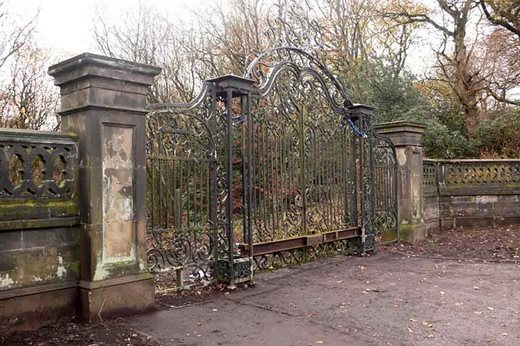 Original entrance gates on the site