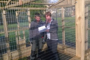 Head scratching from the Harlow Carr team over how to build the chicken run
