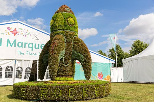 Floral rocket on display at Hampton Court Palace flower show