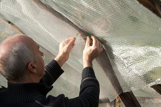 insulating greenhouse with bubble wrap