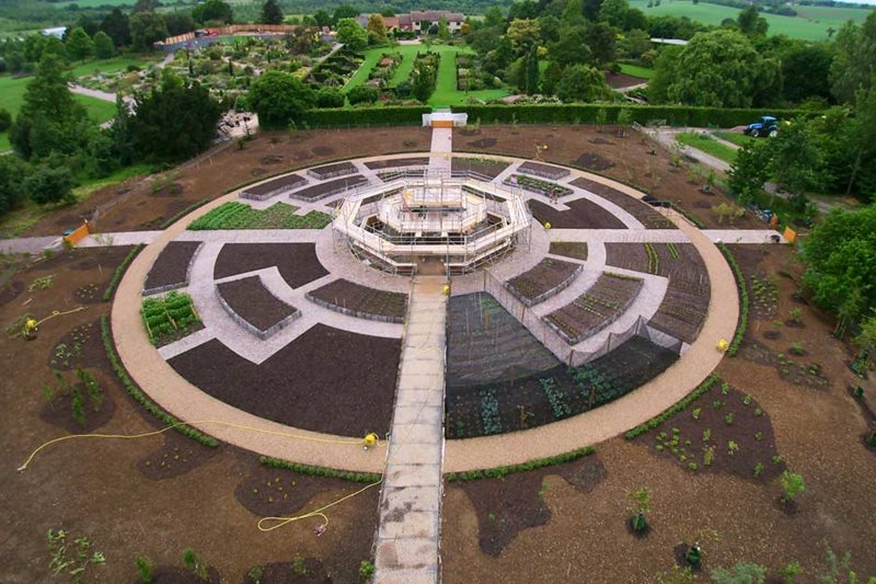 Aerial view of the Global Growth Vegetable Garden