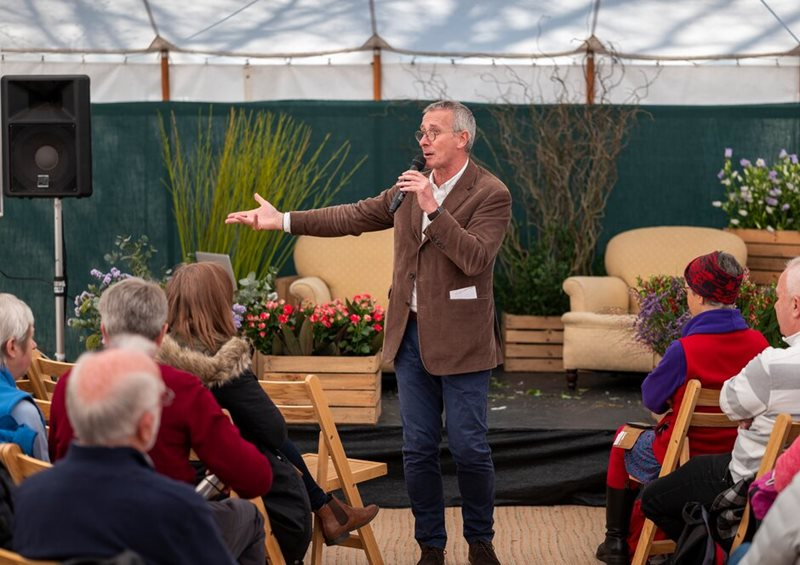 James Alexander Sinclair gives talk at RHS Flower Show Cardiff