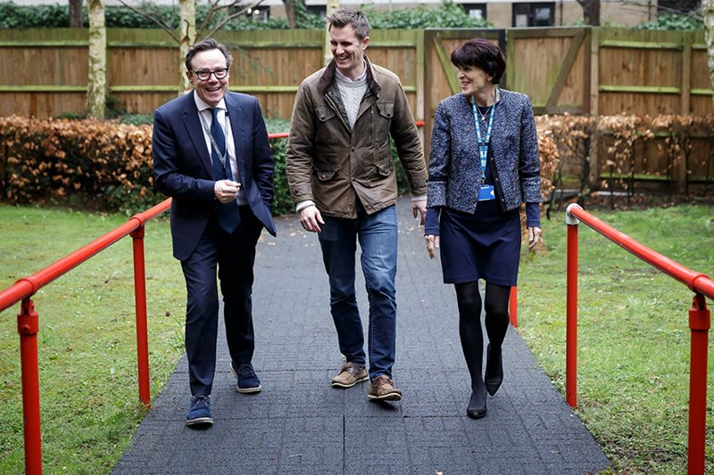 Garden designer Matt Keightley, centre, with Angela McNab, CEO of the winning NHS Trust and Tim Kendall, National Clinical Director of Health